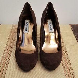 STEVE MADDEN Brown Suede Platform Heels / Pumps